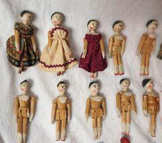 Antique Penny Wooden Wood Doll w 16 Mini Wood Dolls | eBay