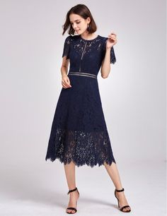 a7344289c09 Alisa Pan Short Sleeve A Line Lace Party Dress  causualdress  shortdress   lacedress