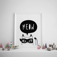 Printable Art, Kids Room Decor, Black and White Print, Superhero Cat Illustration, Meow, Scandinavian, Simple Print, Typography, Nursery Art
