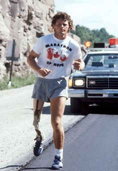 Terry Fox, shown during his run across Canada to raise money for cancer research in 1980, had to stop his journey just west of Thunder Bay, Ont., when his cancer returned and spread to his lungs.  A CDN HERO!