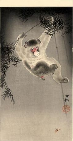 Monkey Swinging from a Bamboo Branch, Observing a Fly - Ohara Koson