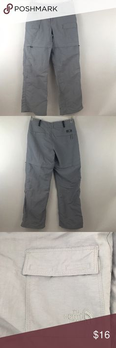 "North Face Women's Gray Convertible Pants Size 2. These North Face Gray Convertible Pants are Size 2. They are detachable. Length 35"", Inseam 26.5"", waist 14.5"", the length of the shorts 13.25"". These are at a great price! North Face Pants Track Pants & Joggers"