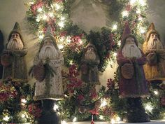 Beautiful mantle with Belsnickle Santa's