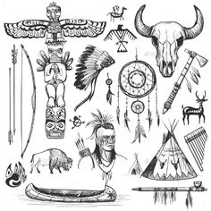 Set of Wild West American Indian Designed ElementsYou can find Design elements and more on our website.Set of Wild West American Indian Designed Elements Red Indian Tattoo, Native Indian Tattoos, Indian Tattoo Design, Native American Tattoos, Native American Symbols, Native American Design, American Indian Art, Native American Indians, Indian Arrow Tattoo