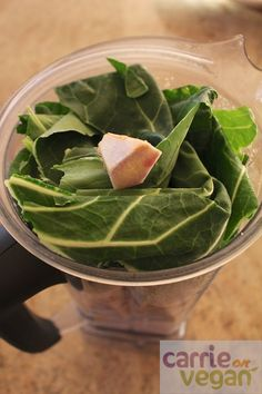 Green smoothie with collards and ginger.