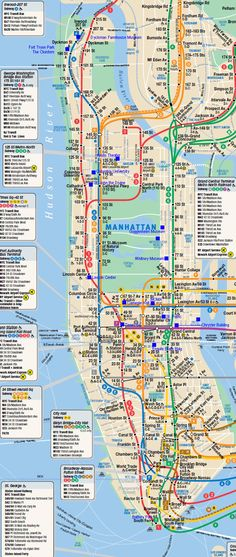 Large detailed subway map of Manhattan. Manhattan - New York City. New York Trip, New York Vacation, New York City Travel, New York Maps, London Travel, Map Of New York City, City Maps, Manhattan New York, Manhattan Skyline