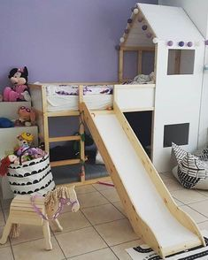 IKEA KURA house bed with slide www limmaland com Kura Cama Ikea, Ikea Kura Hack, Kids Bedroom Furniture, Baby Furniture, Furniture Styles, Rustic Furniture, Luxury Furniture, Furniture Ideas, Furniture Design