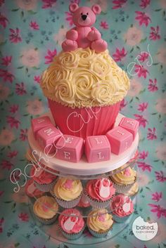 Bear Christening Giant Cupcake Tower - by helenabakes @ CakesDecor.com - cake decorating website