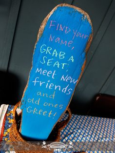 Creative sign at rehearsal in Apostle Islands. Photo by: Front Room Photography