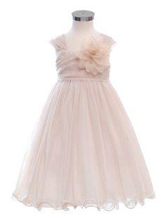 Champagne Double Layered and Toned Mesh Flower Girl Dress - Flower Girl Dresses - GIRLS