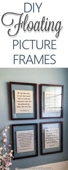 DIY Floating Picture Frame Tutorial #floatingframes #transparentframes #diywallart