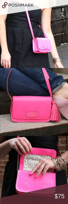 Kate spade neon pink mini satchel crossbody Super cute neon pink crossbody satchel bag! Really small but makes a statement and is perfect for concerts and weekends. Pink tassels not included. Used but in great condition! kate spade Bags