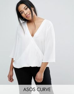 ASOS Curve   ASOS CURVE Wrap V Neck Blouse With Fluted Sleeves at ASOS