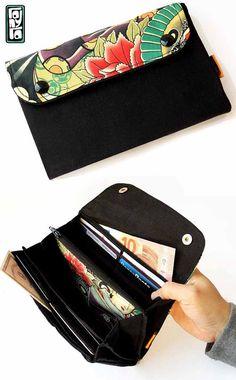 Portafoglio a fisarmonica in tessuto di cotone ha diversi - Porta tessere e banconote ...