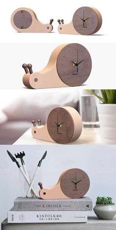 Bamboo Wooden Snail Round Desk Clock Art Deco style.,Handmade Bamboo Wooden Snail Round Desk wall clock Made from Wooden and Metal