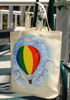 Colorful Hot Air Balloon Tote Bag -- want one <3