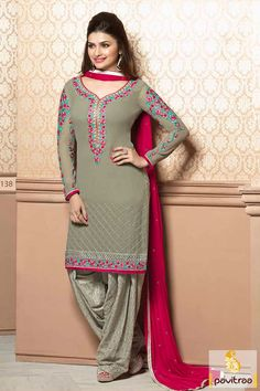 In this grey dark pink georgette party wear Salwar Suit, there is elegant, designs work like embroidery work, resham work,lace patti work, multi thread embroidery works.