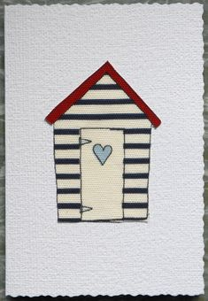Blue Heart Beach Hut Fibre Art Greetings Card by AngiesTextileArt, £1.50