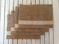 Homemade Hessian Placemats with Lace Detail