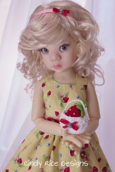 """""""Strawberry Picking"""", made for Kaye Wiggs Talyssa and Mei Mei BJD dolls, cindyricedesigns.com ."""