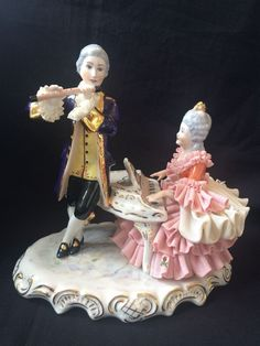 Antique german porcelian figurine dresden / volkstedt music couple . Marked #Dresden #Dresden #Volkstedt