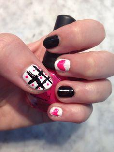 Ma new pink black nail style