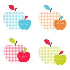 Gingham Apples Digital Clipart - Personal and Commercial Use