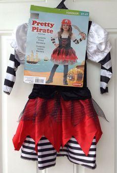 Pretty Pirate Dress with Bandana Toddler Costume Size 3T-4T #Goodmark #Dress