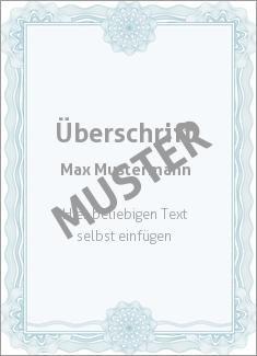Muster Zertifikat, Diplom, Urkunde Diplom, Zertifikat Wertpapier, blau mit…