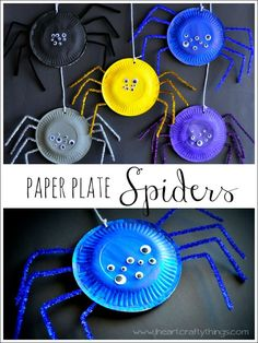Here is a colorful paper plate spiders craft perfect for a Halloween craft, Halloween kids craft, spider craft, paper plate crafts for kids, paper plate spider craft, spider crafts for kids and Halloween crafts for kids.