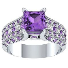 Gemstone 177020: 1.50Ct Amethyst And Diamond Solitaire Engagement Ring 14K White Gold Over -> BUY IT NOW ONLY: $79.99 on eBay!