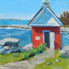Plein Aire Painting | ... : The Oil House, 6x6 Inch Oil Plein Air Painting by Kelley MacDonald