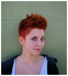Ruby on Fire Color & Cut  by Hilary Reed at Glama-Rama! Oakland  #glamarama #fauxhawk #redhair #shorhairforwomen #barbercut #unisexy
