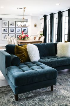 Deep as the sea. The Sven sectional features a chaise to lay yourself out on. Go on, lounge hard. Photo by Classy Clutter. Elegant Home Decor, Elegant Homes, Cheap Home Decor, My Living Room, Living Room Decor, Living Spaces, Classy Living Room, Blue Sectional, Sectional Sofas