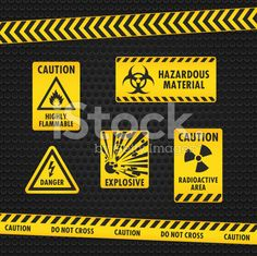 Hazard Warning Tape and Labels royalty-free stock vector art