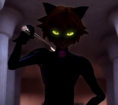 Chat Noir<<>>What's cool is the fact that he rather does look villainous right here.