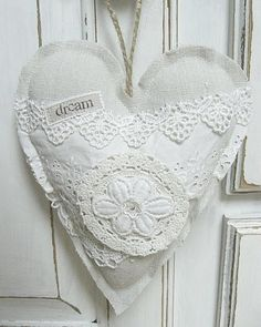 shabby white fabric and lace heart by Viola @ Vintage Inspired / Shabby Chic Inspired