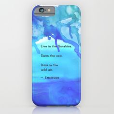 Live in the Sunshine - $35 Blue phone case, watercolor, quote, typography, nature quote