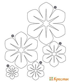 Flower Template to make hula leis Giant Paper Flowers, Diy Flowers, Fabric Flowers, Felt Flower Template, Felt Flower Tutorial, Felt Crafts, Paper Crafts, Diy Paper, Tissue Paper
