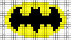 Batman-symbol-chart for a Batman knit hat pattern that is also at this location Double Knitting Patterns, Knitting Charts, Loom Patterns, Loom Knitting, Cross Stitch Patterns, Crochet Patterns, Free Knitting, Crochet Gratis, Knit Or Crochet