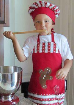 Boys Christmas Chef Set: Apron, Hat and Tools