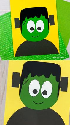 Easy paper Frankenstein craft for preschoolers and older kids. Non-scary Halloween craft idea for the classroom. Make an easy, non scary paper Frankenstein craft with your kids this Halloween. Use the printable template for a classroom or home craft. Scary Halloween Crafts, Halloween Canvas, Halloween Crafts For Toddlers, Halloween Activities, Craft Activities For Kids, Preschool Crafts, Halloween Party, Halloween Costumes, Paper Crafts For Kids