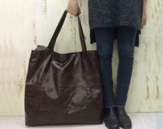 Brown Leather Travel Bag, Oversized leather tote leather tote 814f237a10