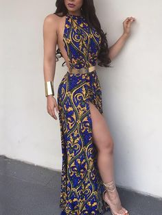 Ethnic Style High Slit Maxi Dress