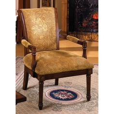 @Overstock.com - Betty Fleur Antique Oak Wood Accent Chair - Pump up the vintage style of your living room with this antique oak accent chair. This solid-wood chair features an attractive earth brown polycotton fabric upholstery, making it a good addition near retro fireplaces and classic Oriental rugs.  http://www.overstock.com/Home-Garden/Betty-Fleur-Antique-Oak-Wood-Accent-Chair/5328387/product.html?CID=214117 $239.99