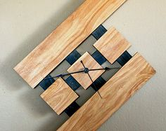 exotic wood clock   Floating, Wall Wood Clock, Stain: E arly American (Oak, Poplar) ...