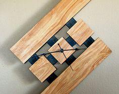 exotic wood clock | Floating, Wall Wood Clock, Stain: E arly American (Oak, Poplar) ...