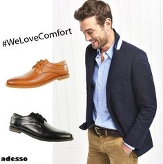 The saying is true, you can tell a gentleman by his shoes. New In- Adesso Connor. A lace-up design with a soft-cushioned insole. We always love comfort and Perfect for those summer outings. Men's Shoes, Dress Shoes, Real Leather, Gentleman, Oxford Shoes, Lace Up, Summer, Design, Fashion