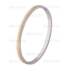 pulsera plateado rayas dorado brillo en acero inoxidable - SSBTG1225561