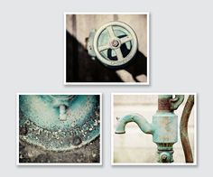 "Bathroom Decor Print Set of 3, 15% Discount, Teal Bathroom, Pittsburgh, Aqua Bathroom Wall Art. 3 unframed horizontal rustic water pump photographs. • Borderless fine art photographs with a soft luster finish. • Available in sizes 8x10 through 30x40 (Click ""Select Options"" menu to choose). • Watermark does not appear on final photograph."